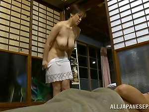 Bald dude fiercely drills tight Japanese mom's trimmed twat (Censored)