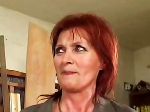 Heavenly redhead mature gets her burning red pussy smashed hard