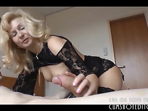 mature amateur in lingerie seduces young man