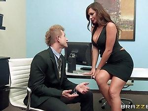 Lesbian boss seduces beautiful employee