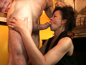 Mature bitch is horny to swallow photographer's thick meat member