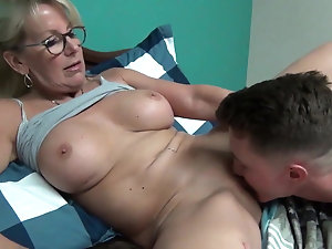 German chick giving blow job outside